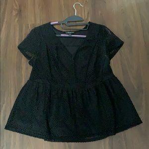 NWOT  Open Lace Peplum Shirt with Cap Sleeve